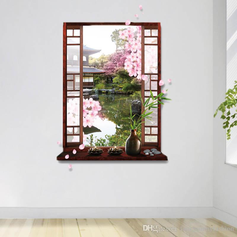 2016 New Window Wall Decal Stickers Provided 3D Effect Lookout Classical  Chinese Garden Scene Eco Friendly EN71 REAC 6P Certificated Poster 3D  Printed ...