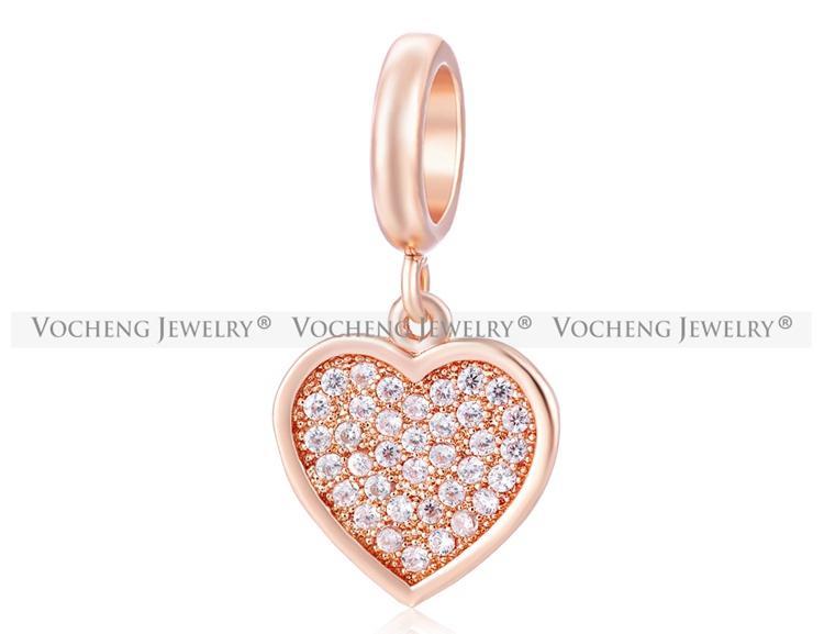 VOCHENG Endless Charms 3 couleurs plaqué pas fondu coeur charme incrusté CZ pierre laiton matériel interchangeable bijoux VC-143