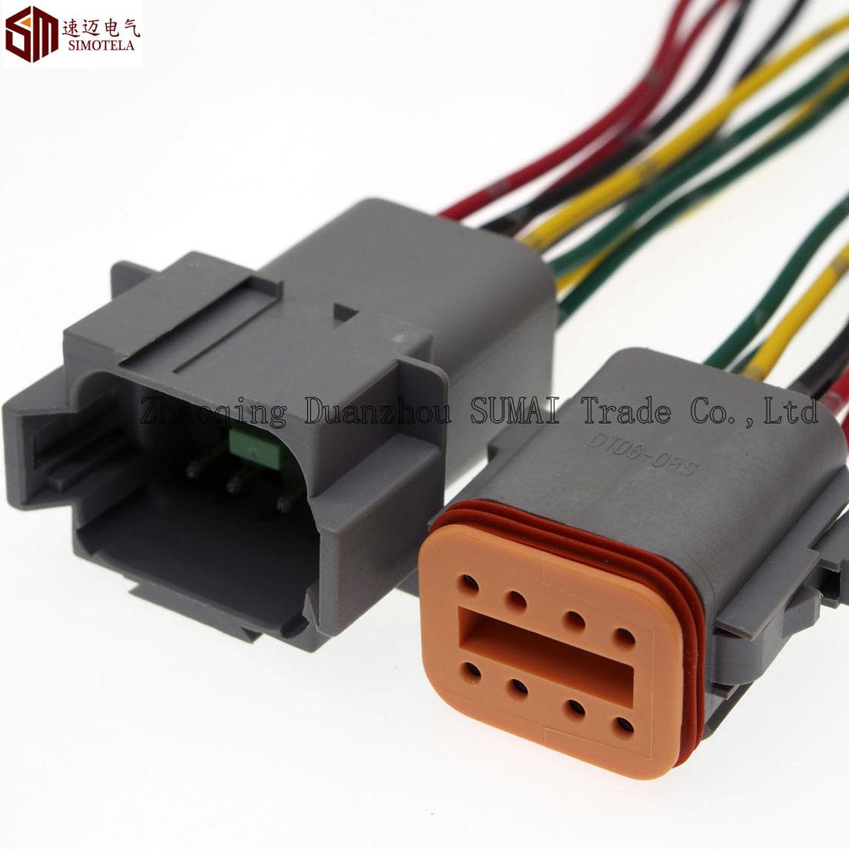 Deutsch DT06-8S y DT04-8P establecen conector eléctrico a prueba de agua de 8 pines del motor / caja de engranajes para automóviles, autobuses, camiones, barcos
