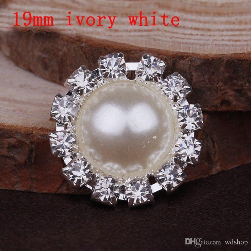 Comercio al por mayor 100 unids 19 mm 16 mm 14 mm diámetro adorno de diamantes de imitación perla perla chapado en plata plana trasera de marfil blanco puro perla