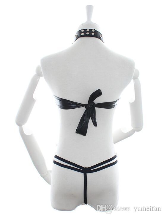 Sexy Costume Qualité Sexy Dames Noir En Cuir Fétiche Bondage Costume Bikini Sex Toys Adult Bondage Jeux