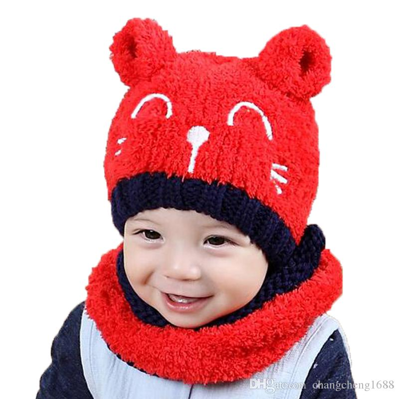 3adebbcf9b3 Unisex Child Beanies Cap Set Baby Kids Design Knit Solid Color Ear ...