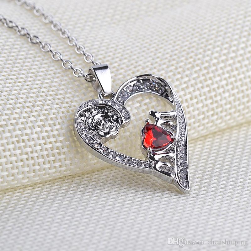 Wholesale rose flower crystal rhinestone mom heart pendant necklace wholesale rose flower crystal rhinestone mom heart pendant necklace mothers day present family jewelry women gift jewelry for women diamond necklaces mozeypictures Image collections