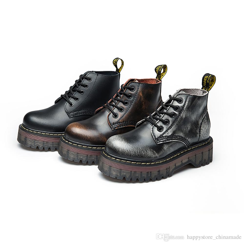 X12a Winter Retro Britischen Stil Leder Brogues Oxfords Kurze Stiefel Frauen Schuhe Runde Kappe Casual Lady Dicken Sohlen Echtem Leder Flache schuhe