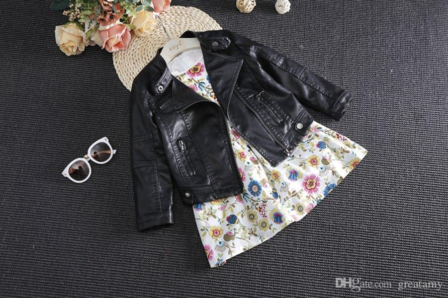 Spring Autumn Kids Jacket PU Leather Girls Jackets Clothes Children Outwear For Baby Girls Boys Clothing Coats Costume