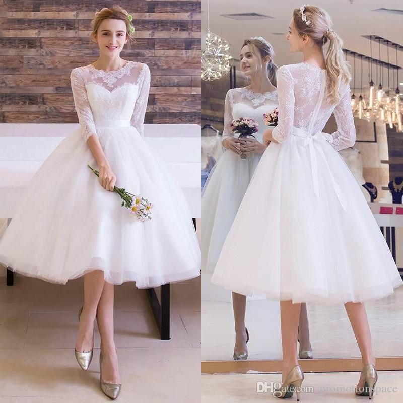 3 4 Length Vintage Wedding Dresses: Discount 2016 New Vintage Tea Length Wedding Dresses With