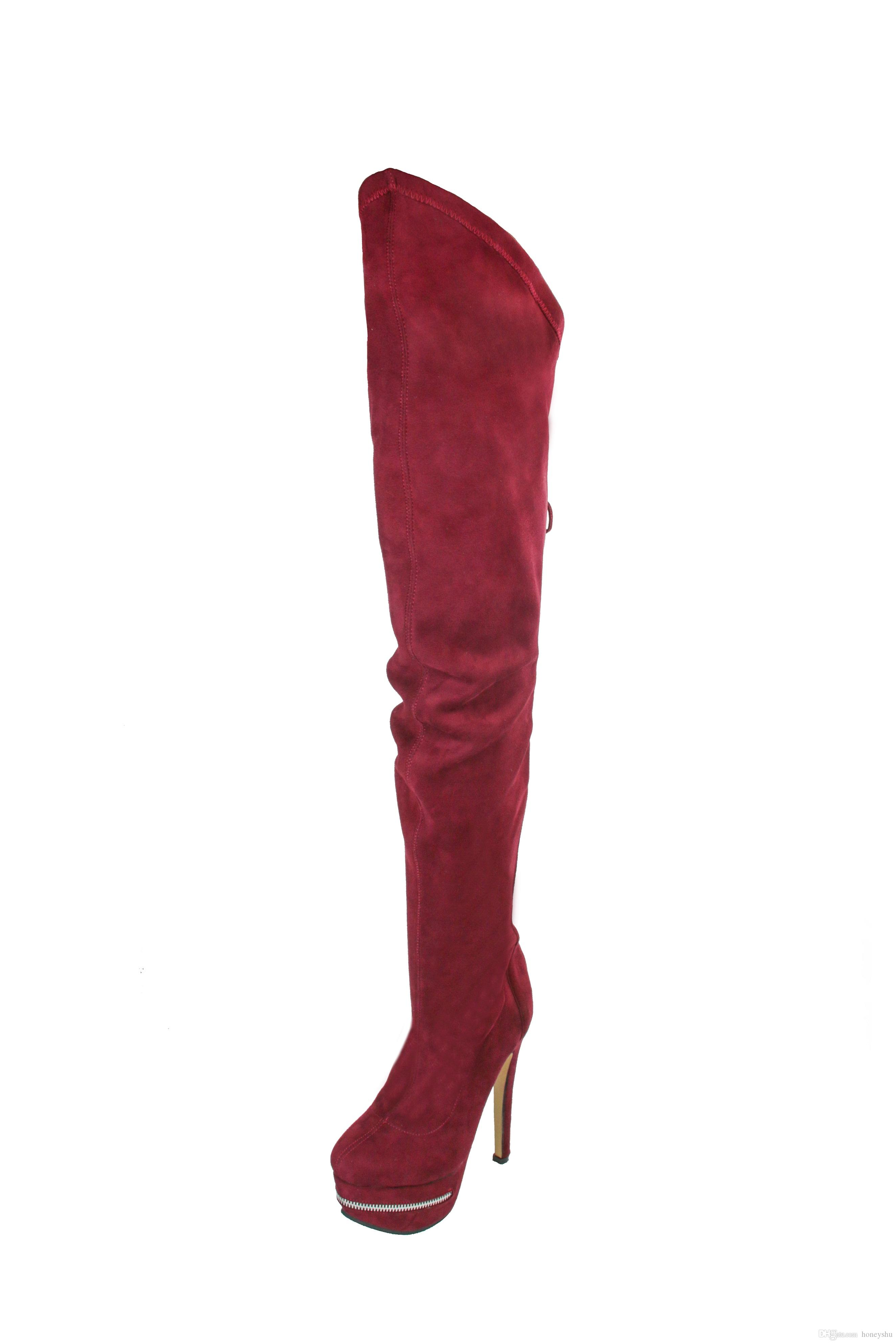Kolnoo Womens Handmade High Heel Knee Boots Platform Ziper Closure Lace-up Deco Winter Fashion Booty Shoes XD331