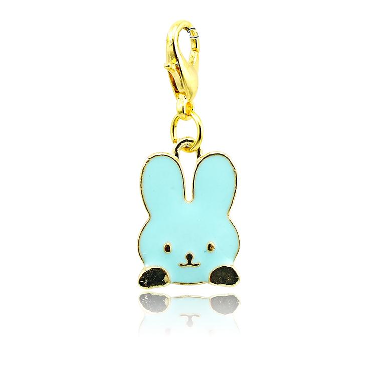 Fashion Floating Charms Gold Plated Enamel Rabbit Lobster Clasp Alloy Animals Charms DIY Pendants Jewelry Accessories
