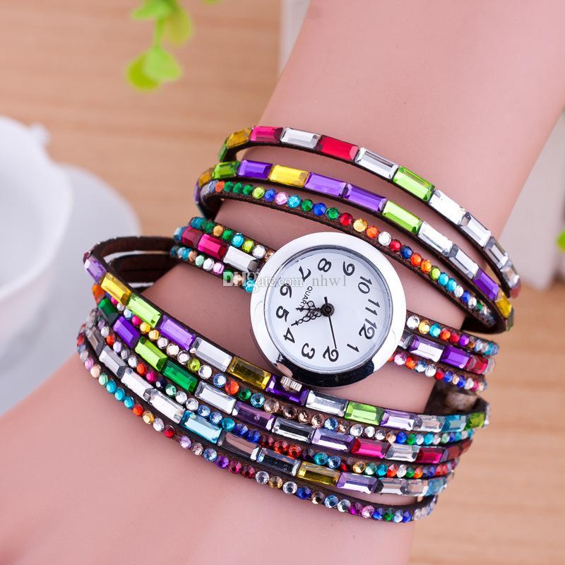 Fashion Women Colorful Bracelet Watch Women Diamond Wristwatches Relogio Quartz Casual Female Bracelets Watches