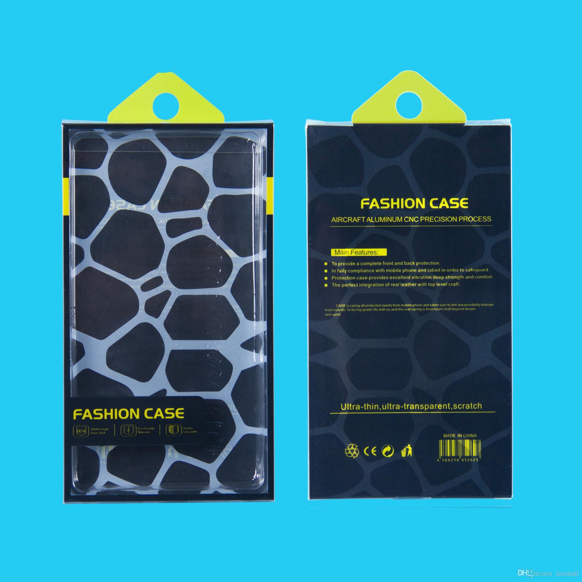 Cajas de empaquetado de la caja plástica del paquete al por menor del PVC vacío para el iPhone 8 7 6S 6 más 5.5 pulgadas Caja de la cartera de la carpeta del cuero del teléfono de Samsung S5 Note 4 3