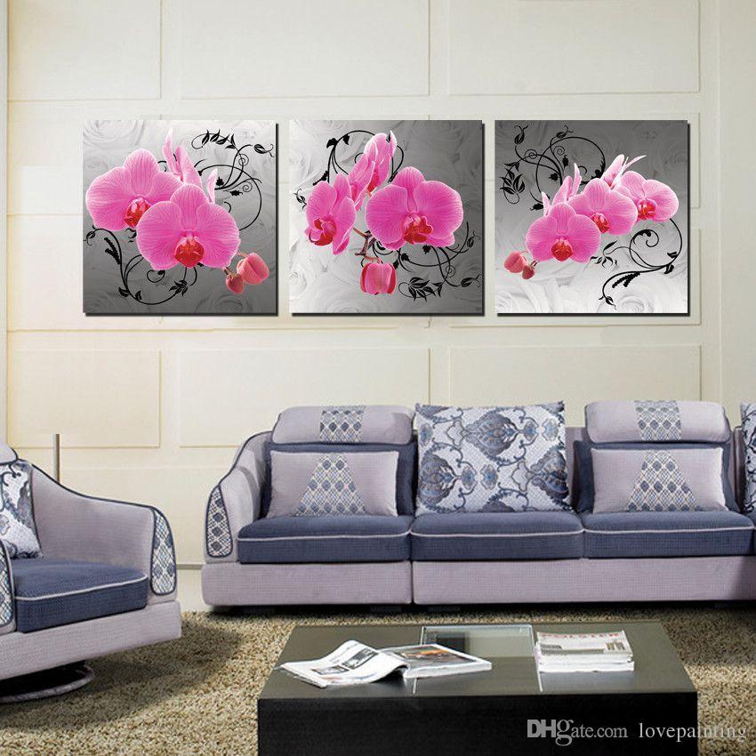 Decorazione della parete Senza cornice 3 Pezzi illustrazioni Stampe su tela Vetro di vino Tulipano rosso petalo tulipani orchidea Orologi da caffè orologi tazza Fiore di cartone animato