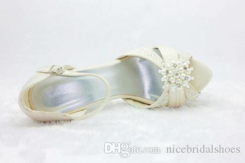 10cm heel Ivory Color Platform Sandal Style Bridal Shoes Wedding Dress Shoes Handmade Shoes for Wedding Prom Party Shoes Rhinestones