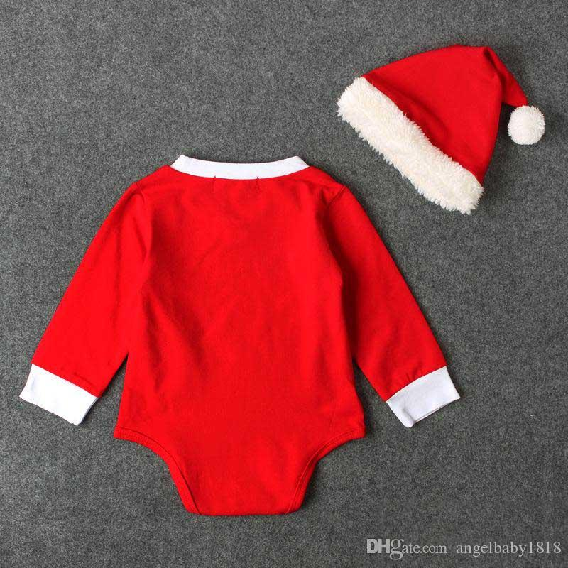 Baby Christmas romper sets red pompon santa hat+red romper infants cute Xmas festivals romper outfits for 1-2T