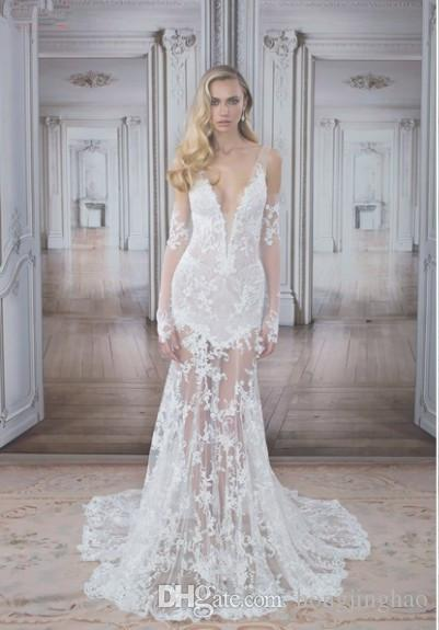 Pnina Tornai 2017 white lace long sleeves a line wedding dresses detachable sweep train bride gowns