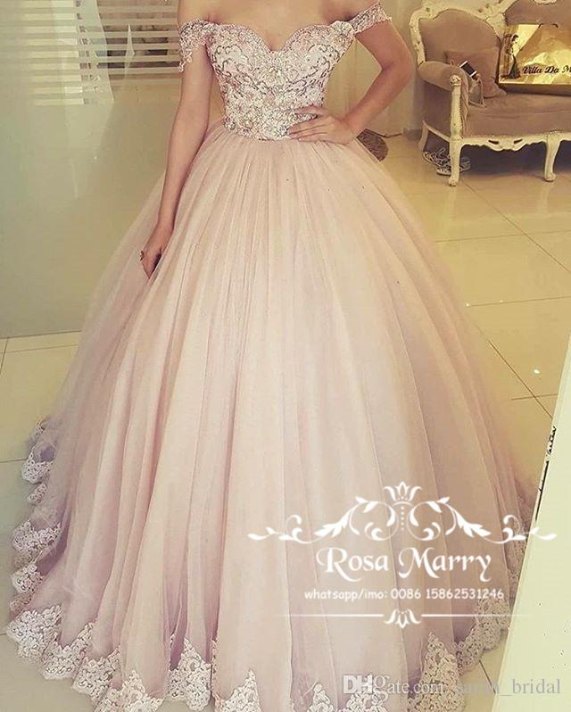 Blush Pink Off Shoulder Ball Gown Prom Dresses 2018 Vintage Lace ...
