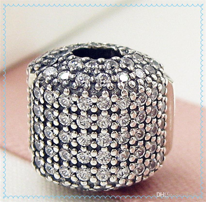 2016 Día de la Madre 925 Sterling Silver Pave Barrel Clip Charm Bead con Clear CZ Se adapta a European Pandora Style Jewelry Pulseras Collar