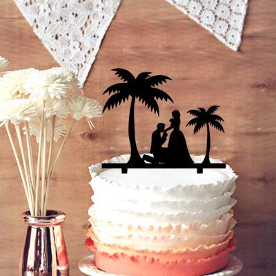 2019 Personalized Cake Topper For Wedding Anniversary Romantic Beach Sweet Couple Under Tree From Kaishihui