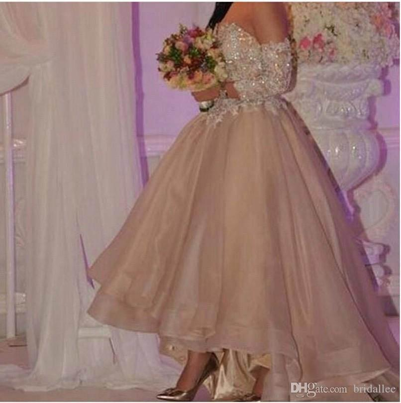 Pretty Champagne Organza A line Arabic High Low Prom Gowns Off Shoulder Long Sleeve Lace Beaded Sequin Dubai Evening Gown Party Gowns