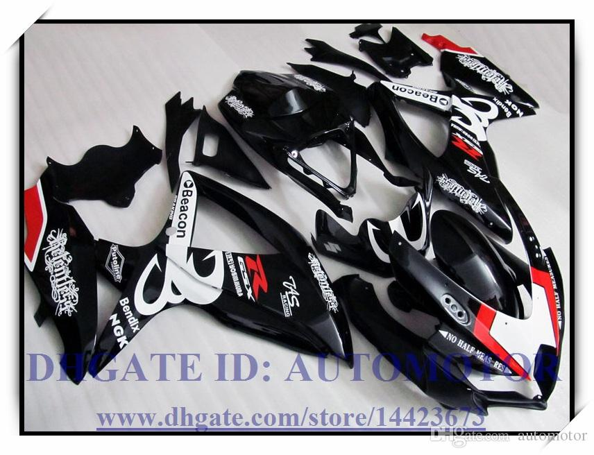 Injection 100% brand new fairing kit fit for Suzuki GSXR600 k8 2008 2009 GSXR750 2008 2009 GSX-R600 GSX-R750 08-09 #KA837 COLOUR BLACK