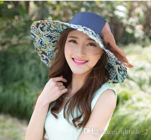 cappello da sole a tesa larga da donna Visor summer Sun Protection UV cappello da spiaggia pieghevole