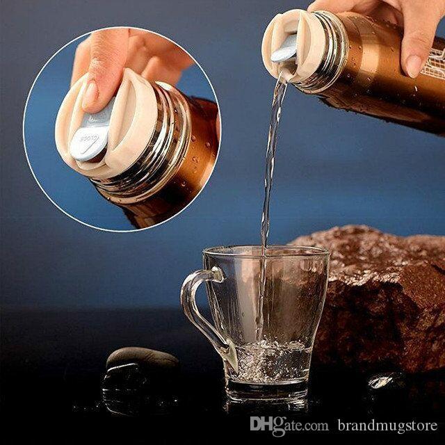 2017 EL MÁS NUEVO 500 ml Bullet Taza de Vacío de Acero Inoxidable Té Café Frasco Taza Termo Botella de Bebida de Viaje Escuela de Viaje Botella de Bebida