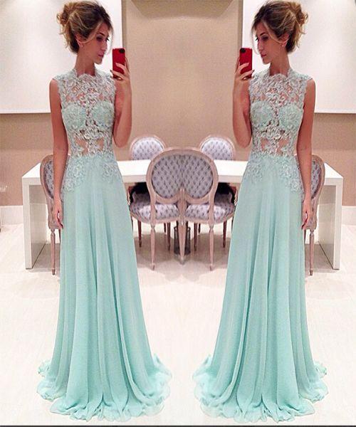 Vestidos encantador Renda Prom Dress Longo Luz do Céu Azul pescoço alto Lace apliques Illusion Top Floor comprimento Chiffon partido baratos Evening