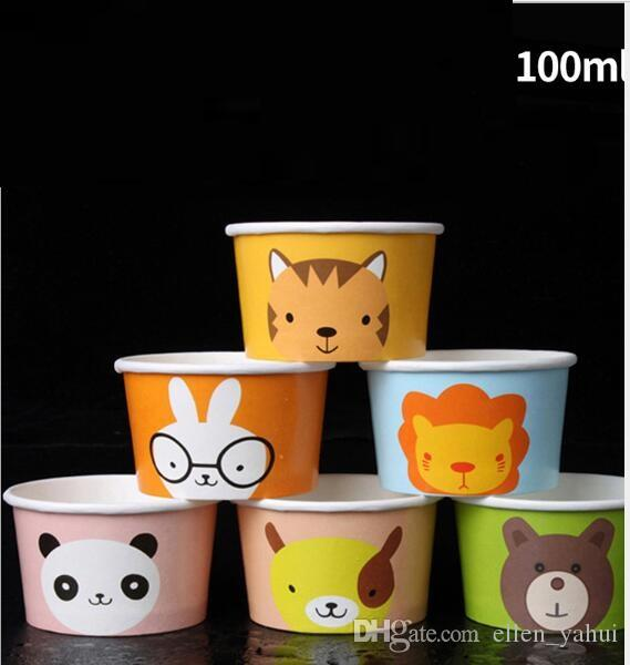 100ml Ice Cream Cups and Spoon Dixie Cup disposable Cartoon paper cup  Sweetmeats cup