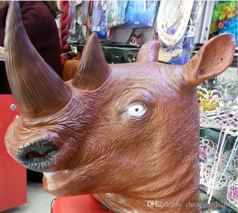Halloween Mask rhinoceros head animal head natural green latex Unicorn mask