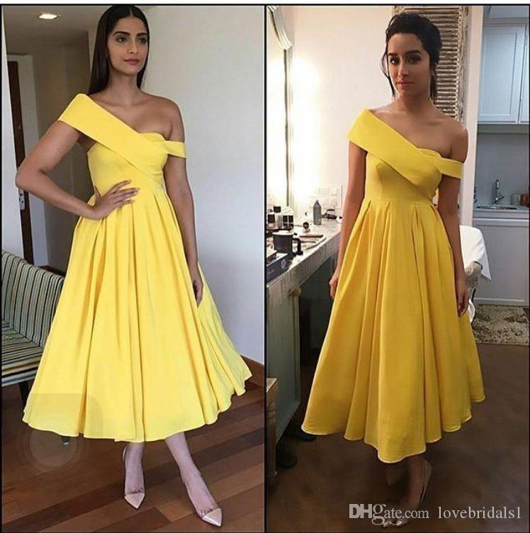 elegant Yellow Tea Length homecoming dress One Shoulder Stain A Line Party Evening Prom Dresses For girl free shipping