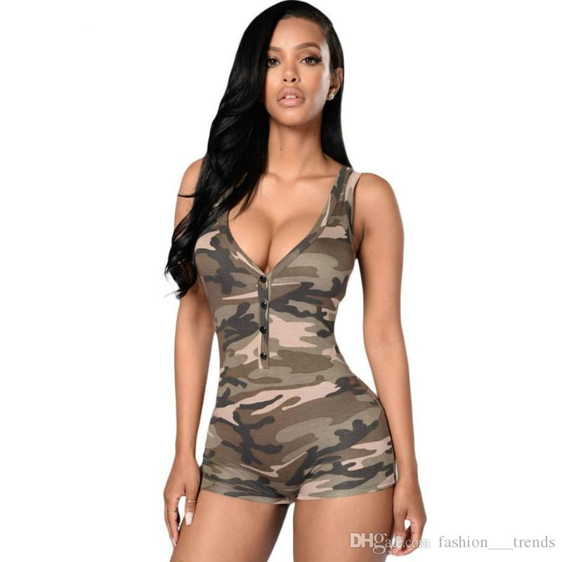 3ea7f79b78 2019 Women Sexy Army Camouflage Bodysuit Jumpsuit Bodycon Deep V Neck Short  Pant Jumpsuit Casual Sleeveless Feminino Romper Overalls Playsuits From ...