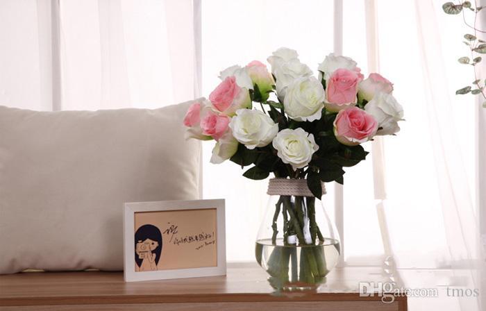 Spedizione gratuita 12 pz MOQThai Royal Rose di lusso fiori artificiali bouquet di fascia alta simulazione fiore di seta home decor fiori - nessun vaso