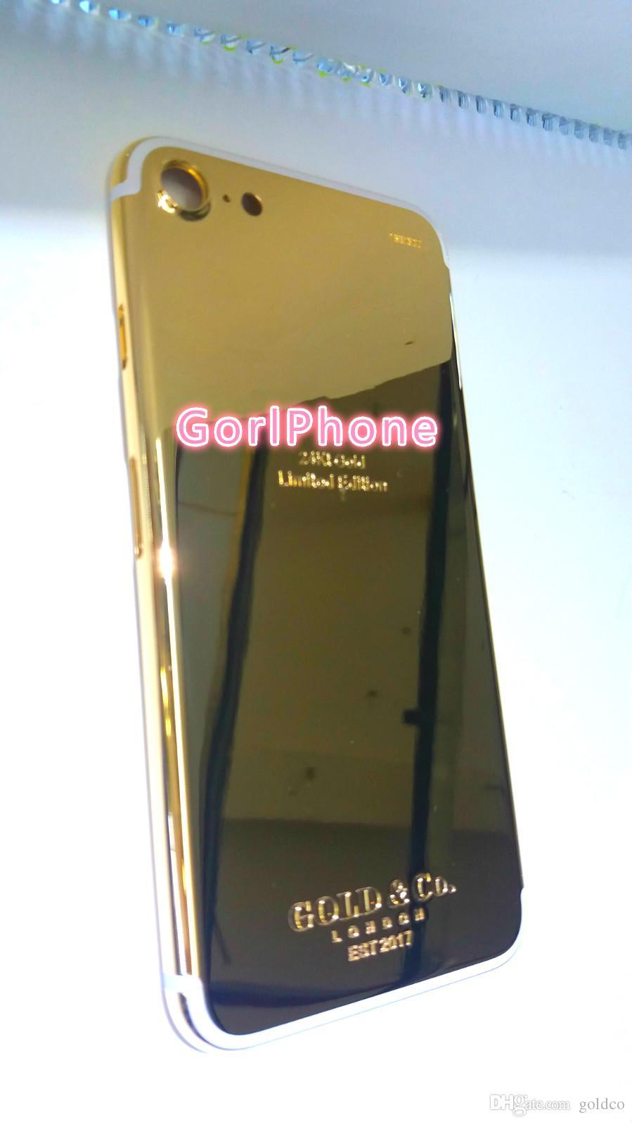 Scheletro in vero oroPlacca posteriore batteria Custodia iPhone 7 7+ in oro placcato in oro cromato