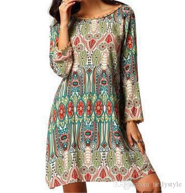 Donna 2016 Casual Sexy Shirt Dress Vintage Bohemian Porcelain Stampa manica lunga spiaggia allentata Mini Dress Abiti da festa