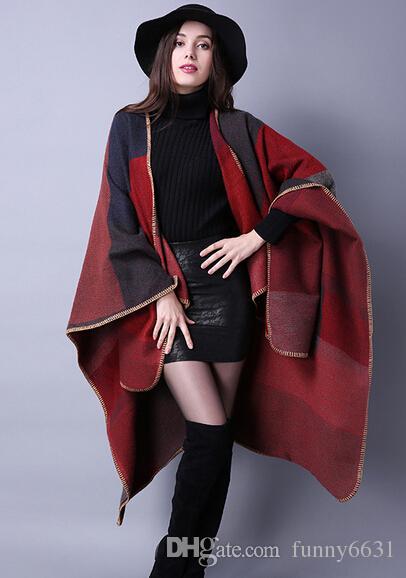 autunno inverno sciarpa griglia donna scialli da viaggio scialli di lana rotazione signore intensificazione nazionale orologio i cape festa natale festa cappa