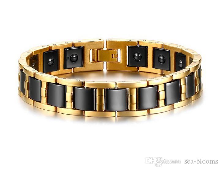 Men's Gold Hematite Black Ceramic Magnetic Therapy Germanium Health Link Bracelet Improve Insomnia Therapy Bangle Jewelry B868S
