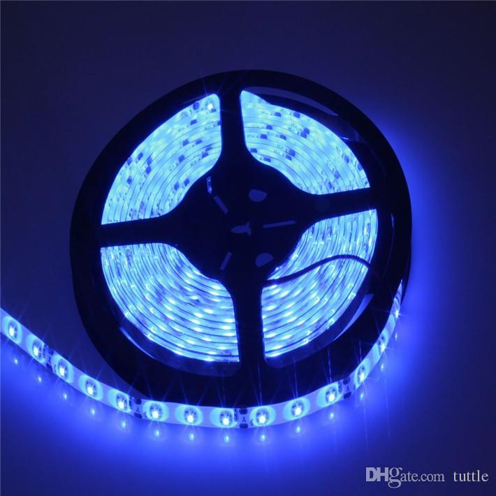 DHL ücretsiz nakliye LED Şeritler 5 M Set 3528SMD 60led LED Şerit Işık Su Geçirmez 24 Tuşları IR Uzaktan Kumanda Güç kaynağı Adaptörü Beyaz / Kırmızı / RGB