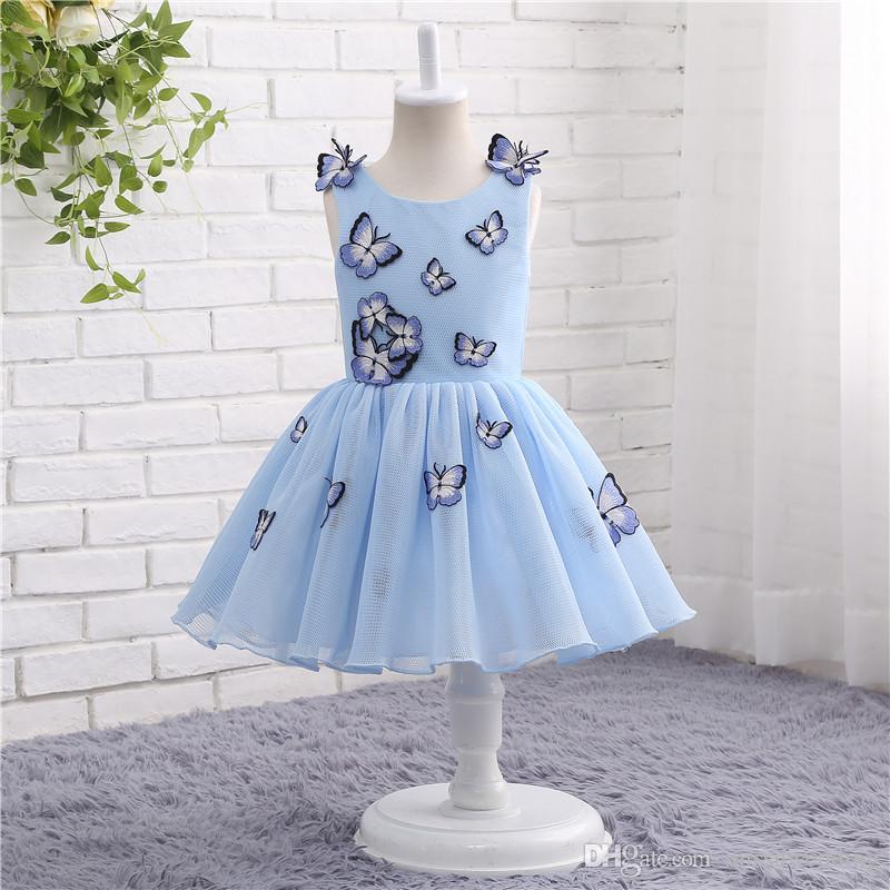Großhandel Blau Mädchen Festzug Kleider Baby Mädchen Kleidung ...