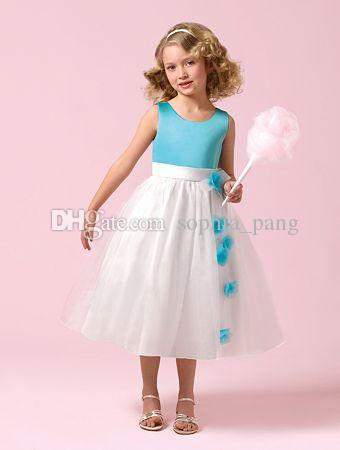 2016 On Sale Lovely Flower Girls Dresses A Line Blue Bodice Organza White Skirt Jewel Neck Handmade Flowers Tea Length Girls Pageant Dress