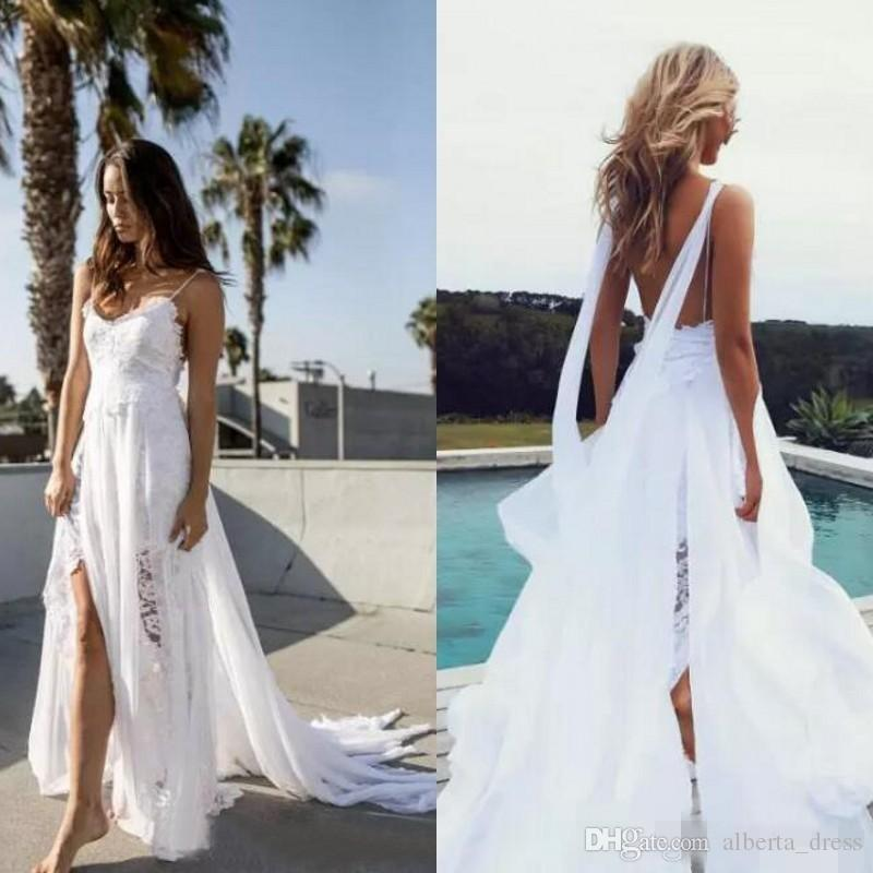 2019 Beach Wedding Dresses Thigh-High Slits beautiful lace bodice with artfully hand-cut lace and drapes of chiffon flowing Bride Gown