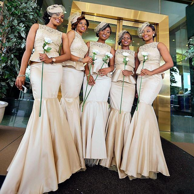 Tradition African Long Bridesmaid Dresses Champagne Nigerian Mermaid ...
