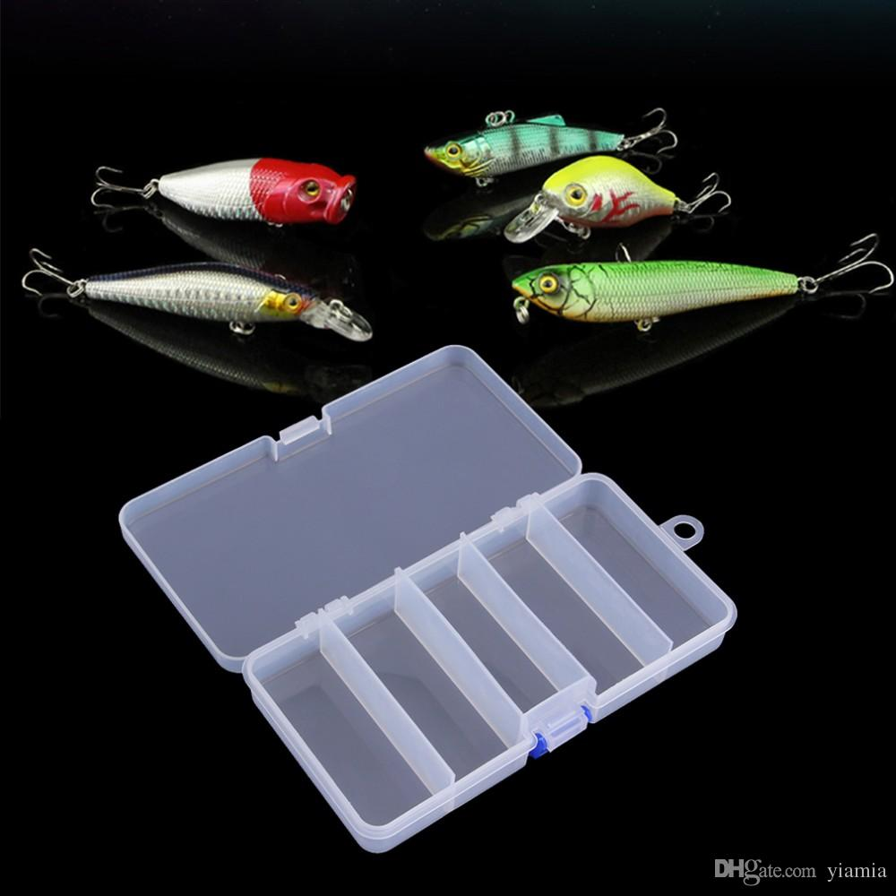 5 compartimentos Por 4 Splitter Organizador De Armazenamento De Plástico Transparente Caso Contêiner Isca De Pesca Isca Caixa 17 cm * 8.5 cm * 3 cm