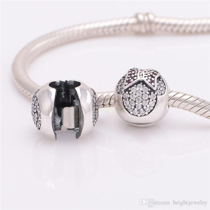 Dinsy Jewelry Clip Charms Fits pandora Charms Bracelet DIY 925 Sterling Silver Pave Sparking Clip Stopper Beads Charm Women DIY Jewelry