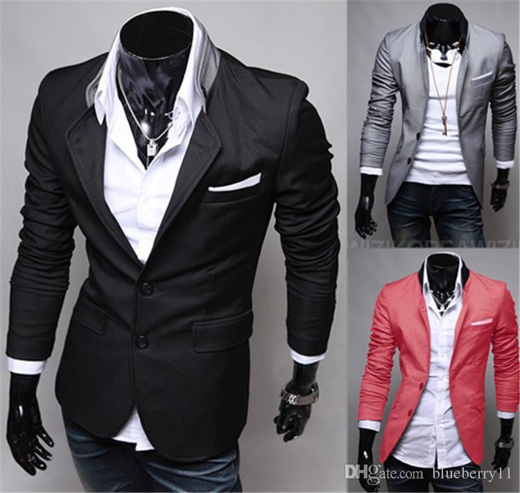 Moda Kış Siyah Kırmızı Gri Erkek Casual Giyim Pamuk Uzun Kollu Casual Slim Fit Şık Suit Blazer Coats Ceketler
