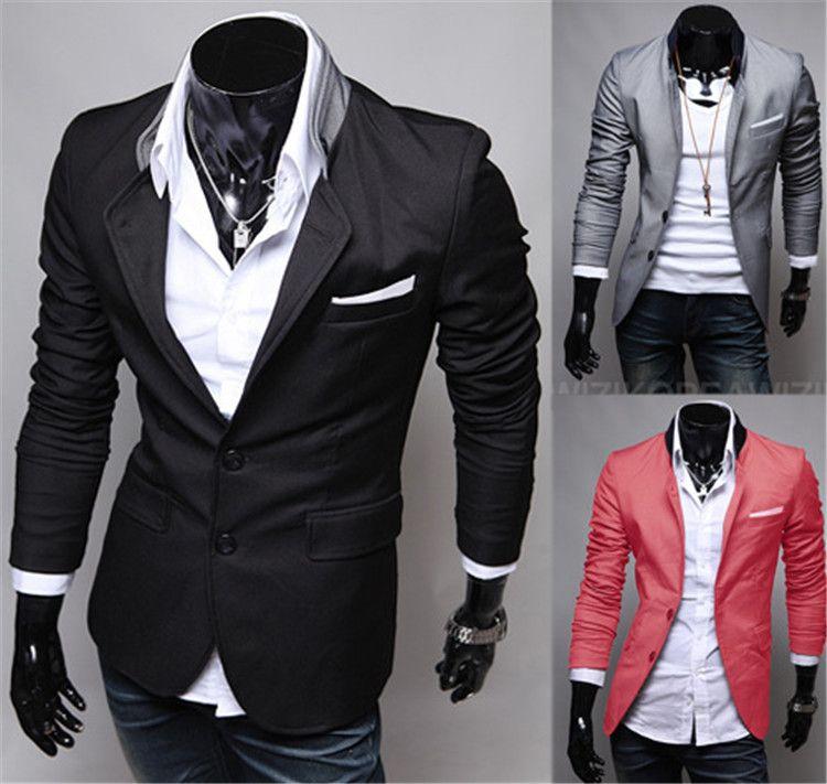 Mode Hiver Noir Rouge Gris Hommes Vêtements Casual Coton À Manches Longues Casual Slim Fit Costume Élégant Blazer Manteaux Vestes