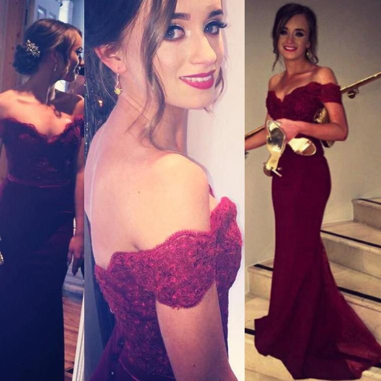 5c48797b04 2016 Burgundy Prom Dresses Mermaid Lace Off The Shoulder Sweetheart Evening  Gowns Chiffon Corset Button Modest Party Dress Sale Cheap Ball Gown Prom  Dresses ...