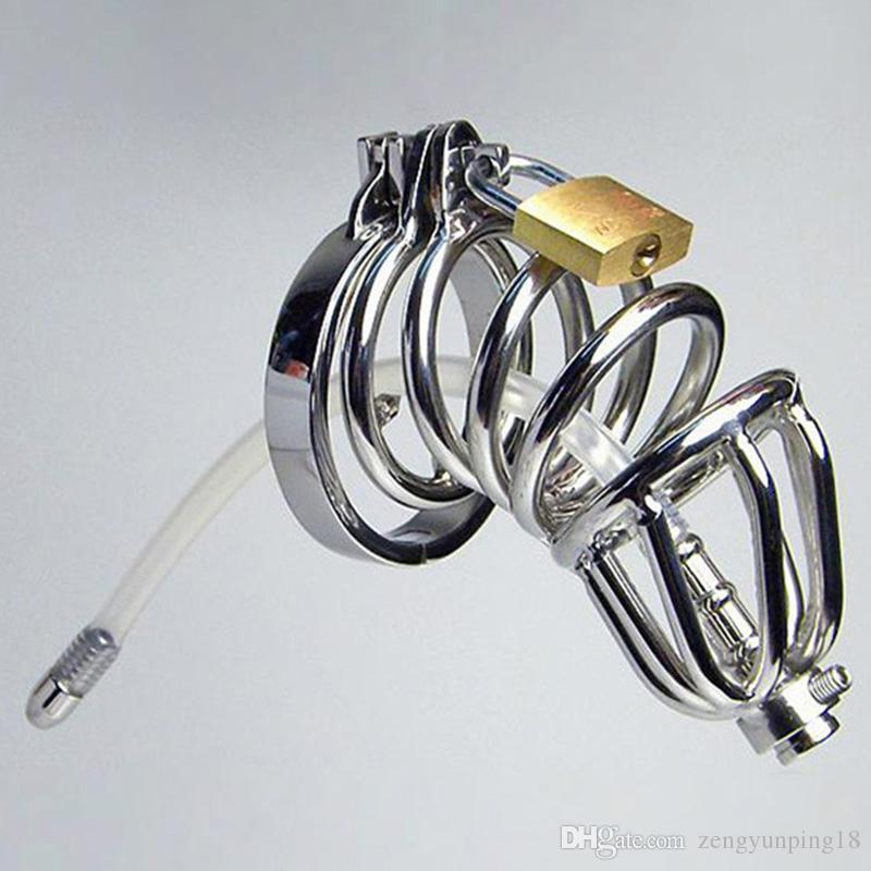Ny stil dubbel ring kyskhet enhet silikonrör med barbed anti-shedding ring kuk bur manlig uretral ljuding sm craft sexleksaker