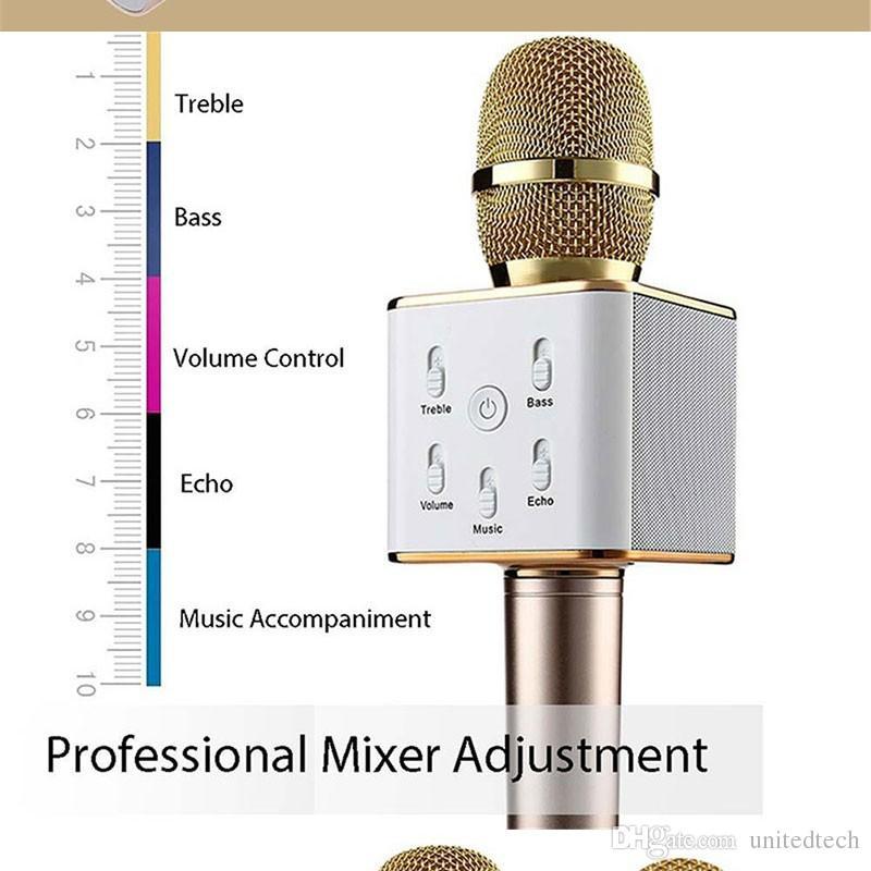 Alta qualidade Portátil Sem Fio Karaoke Microfone Estéreo Bluetooth Speaker Receptor Player KTV Cantar Suporte iPhone Samsung IOS Android