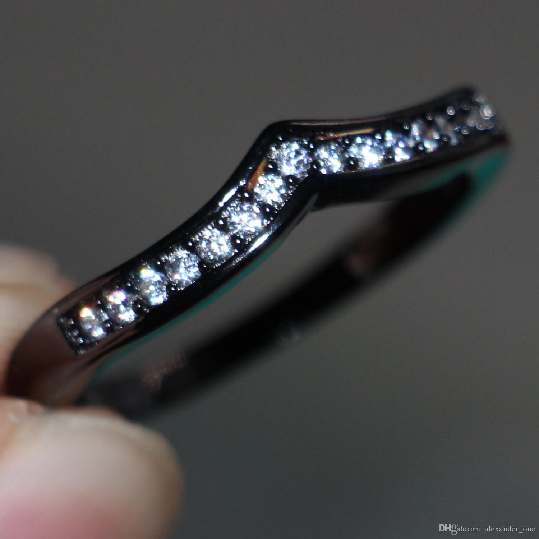 2016 conjuntos de anel de ouro preto de prata esterlina zircon moda senhora anéis de dedo novo design de jóias para as mulheres anel de dedo de Casamento de Noivado
