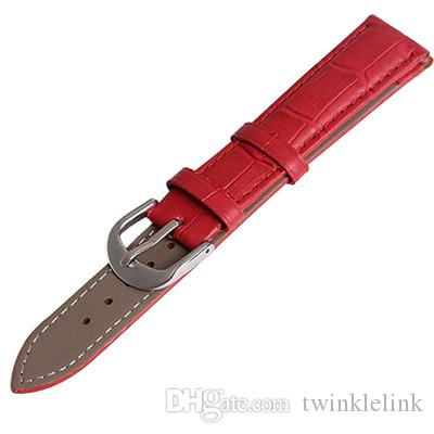 Wholesales 10 Straps New 12mm 14mm 16mm 18mm 20mm 22mm 24mm Red Genuine Calfskin Calf Leather Watch Band Strap Watchband