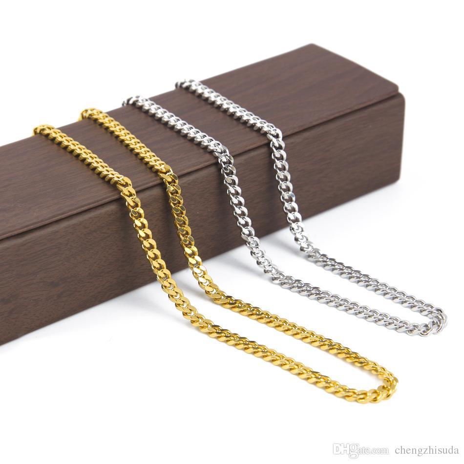 5 мм / 30 дюймов 3 мм / 24 дюйма Золотая серебристая сплошная кубинская кожурная цепочка мужское ожерелье Хип-хоп Ювелирный стиль